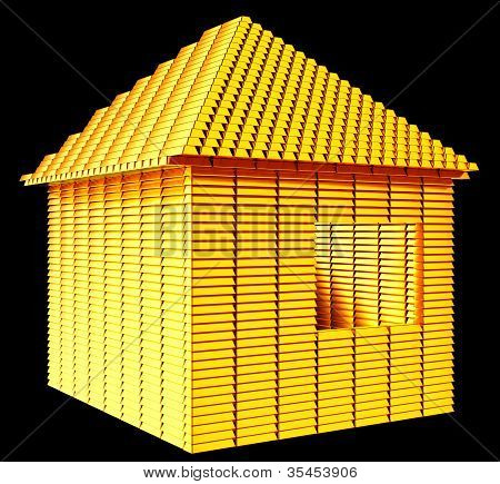Valuable Real Estate: Gold Bars House Shape
