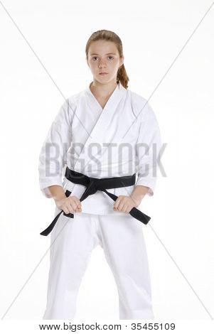 Martial arts girl portrait.karate girl portrait.Martial arts and karate kid portrait.