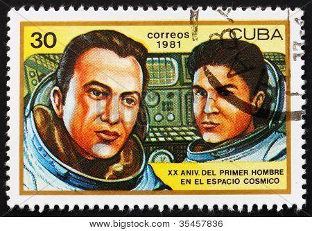 Postage stamp Cuba 1981 Valeri Ryumen and Leonid Popov