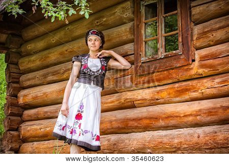 Nice Hungarian girl in national clothes