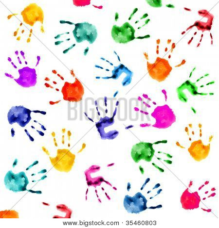 colorful  hand prints isolated over white background