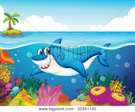 illustration of shark fish in a deep sea water