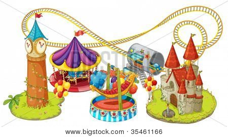 illustration of fun fair games on a white background
