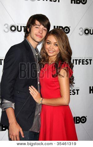 LOS ANGELES - JUL 22:  Matt Prokop, Sarah Hyland arrives agt the 2012 Outfest Closing Night Gala of