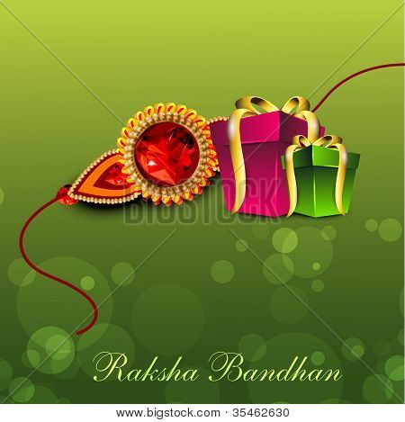 Illustration of gift boxes with golden ribbon and Rakhi for Raksha Bandhan celebration.