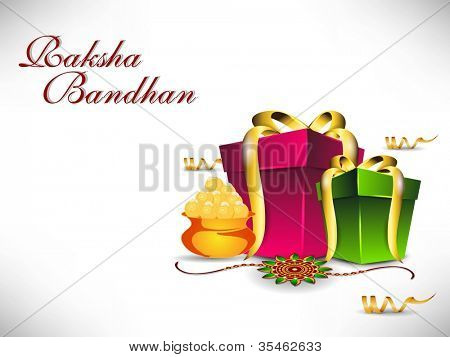 Raksha Bandhan theme with gift boxes, sweets and Rakhi. EPS 10.