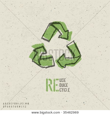 Reuse, reduce, recycle poster design.  Include reuse symbol image, seamless reuse paper texture in swatch palette and stencil alphabet. Vector, EPS10
