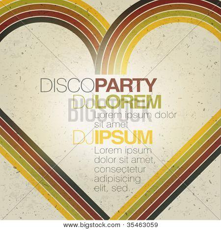 Retro disco party flyer design template. Vector, EPS10