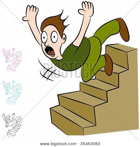 An image of a man falling down a flight of stairs.