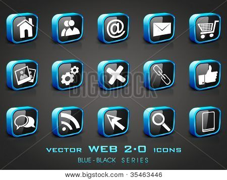 Vector illustration of 3D, web 2.0 mail icons set in black and blue color. Can be used for websites, web applications. email applications or server Icons