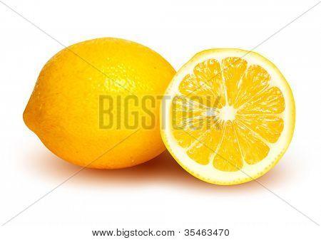 Fresh lemon and lemon slice. Vector illustration.