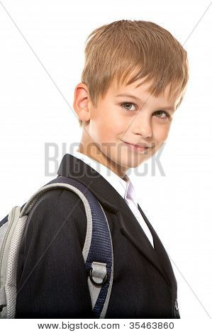 Schoolboy Sitting On Books. Back To School