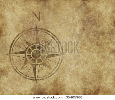 great north arrow and compass on old parchment map with copy space