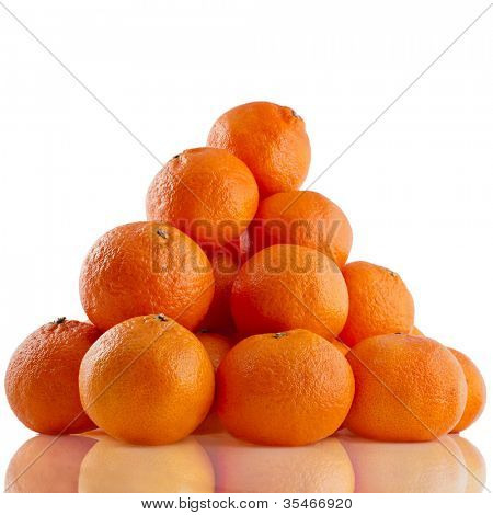 ripe orange mandarines  isolated on white