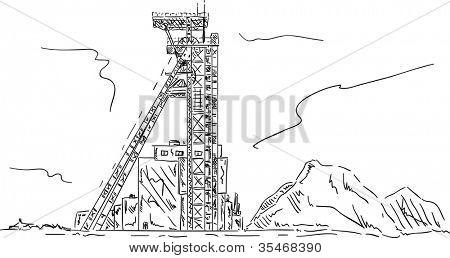 vector - torre de arnês de mina de carvão, mão draw