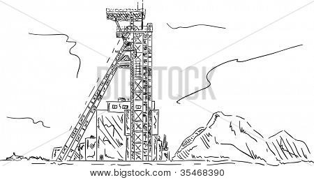 vector - Coal mine headgear tower, hand draw