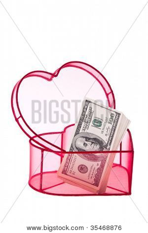 many dollar bills in a heart
