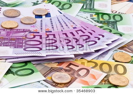 many euro banknotes of the european union.