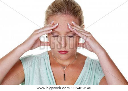 a young woman with migraines and headaches. isolated against a white background