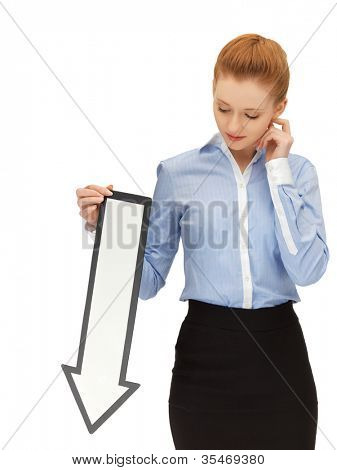 picture of unhappy woman with direction arrow sign