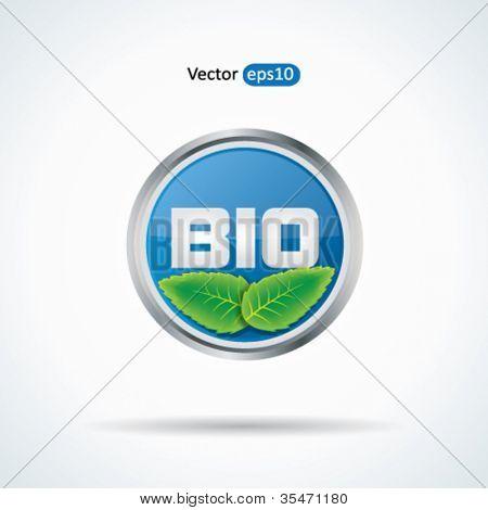Trendy blue web2 bio button