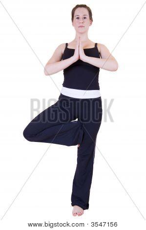 Beautiful Young Lady Doing Yoga