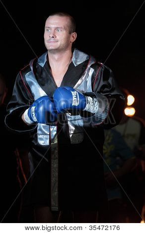 ODESSA, UKRAINE - JULY 21: Vyacheslav Uzelkov before the fight with Mohamed Belkacem for WBO Inter-Continental light heavyweight title in Odessa, Ukraine at July 21, 2012