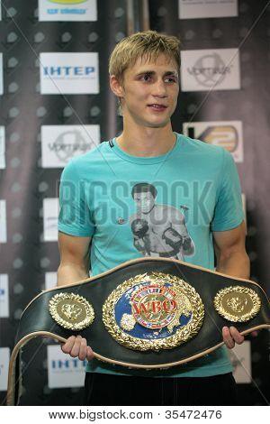 ODESSA, UKRAINE - JULY 21: Alexander Spirko with  the WBO European light middleweight belt in Odessa, Ukraine at July 21, 2012
