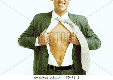 Businessman Tearing His Shirt Open