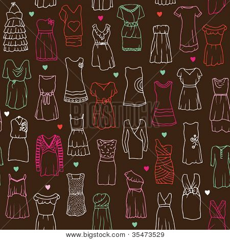 Seamless woman dress fashion background pattern set in vector