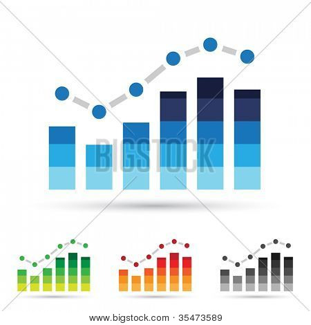 Vector illustration of colorful stats icons