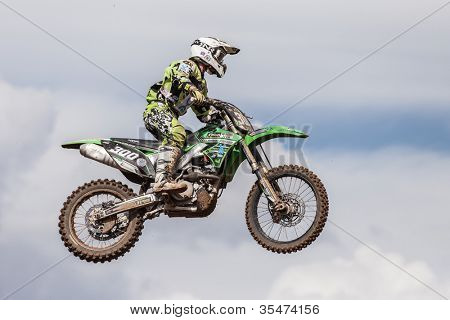 SEMIGORJE, RUSSIA - JULY 22: Unidentified rider at Grand Prix of Russia of FIM Motocross World Championship MX1 and MX2 Series on July 22, 2012 in Semigorje, Russia