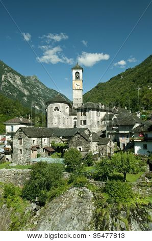 church in alpine landscape  (verzasca valley, switzerland)
