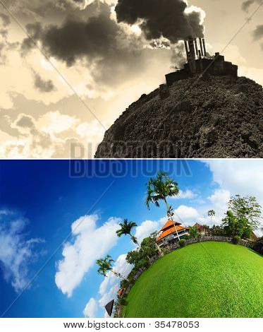 Collage of an empty planet's soil and smoking power plant and green lush meadow with buildings and trees and blue cloudy sky