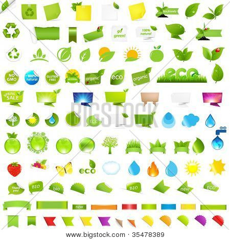 Big Nature And Eco Set With Labels, Isolated On White Background, Vector Illustration
