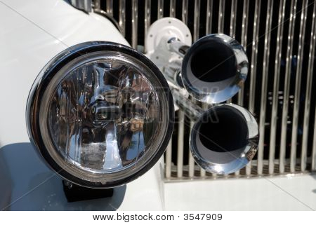Decorative Element On The White Wedding Car