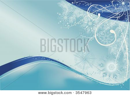 Blue Christmas Snowflakes Background