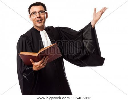 one caucasian lawyer man in studio isolated on white background