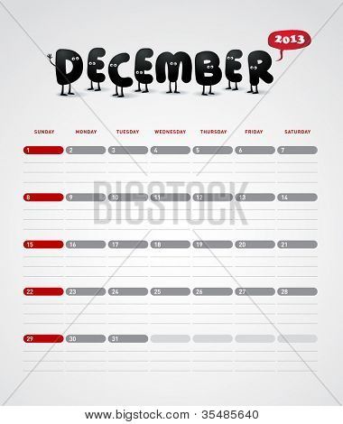 Funny year 2013 vector calendar December