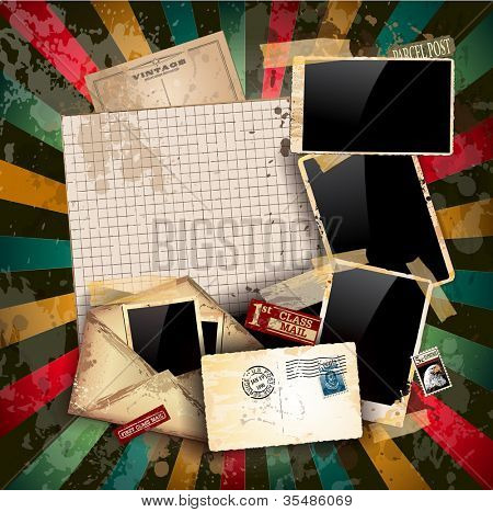 Vintage scrapbook composition with old style distressed postage design elements and antique photo frames plus some post stickers.