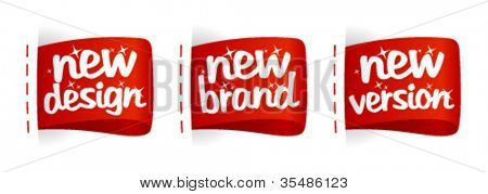 New Brand, Design, Version  labels set.