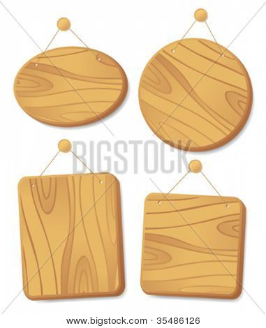 Wooden boards collection hanging on a cord with a nail.