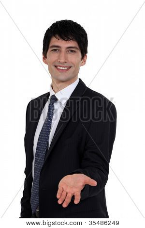 Portrait of an empty-handed businessman