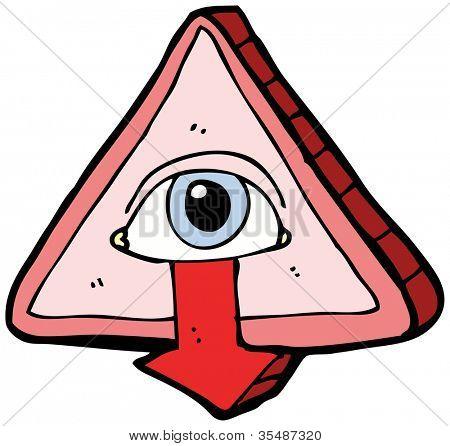 cartoon weird eye symbol