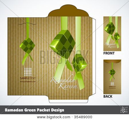 Vector Muslim Ramadan Money Packet Design Translation: Peaceful Celebration of Eid ul-Fitr, The Muslim Festival that Marks The End of Ramadan.