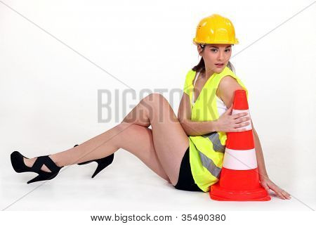 Sexy woman with beacon signaling