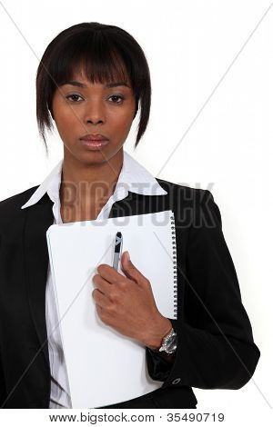 Businesswoman with a deadpan expression