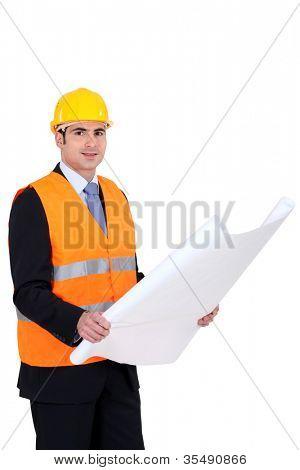 Architect wearing safety jacket