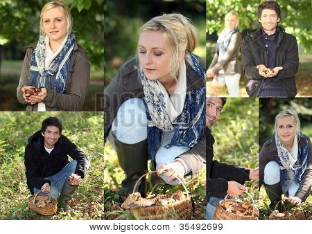 Young couple gathering mushrooms in the woods