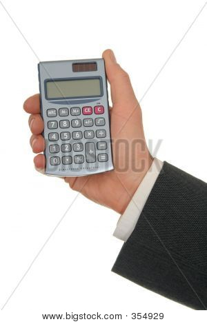 Businessman's Hand Holding A Calculator